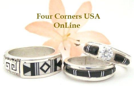 black white native american wedding rings four corners usa online - Native American Wedding Rings