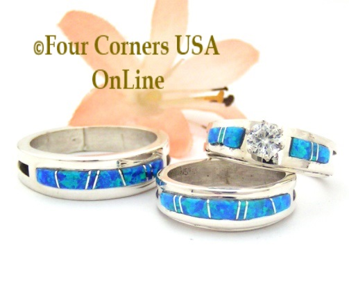Blue Fire Opal Inlay Engagement Bridal Wedding Band Ring Sets Navajo Wilbert Muskett Jr Four Corners USA OnLine Native American Jewelry