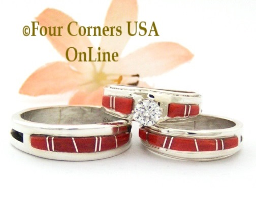 Coral Bridal Engagement Wedding Band Ring Sets Four Corners USA OnLine Native American Jewelry