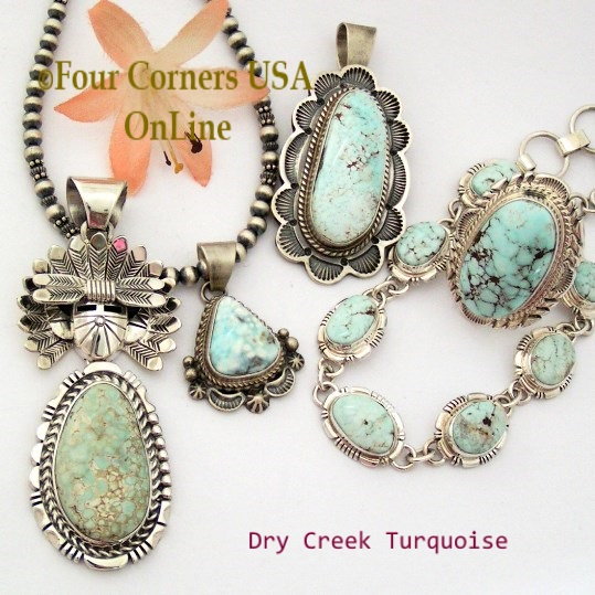 Dry Creek Turquoise Jewelry Four Corners USA OnLine Native American Silver Jewelry