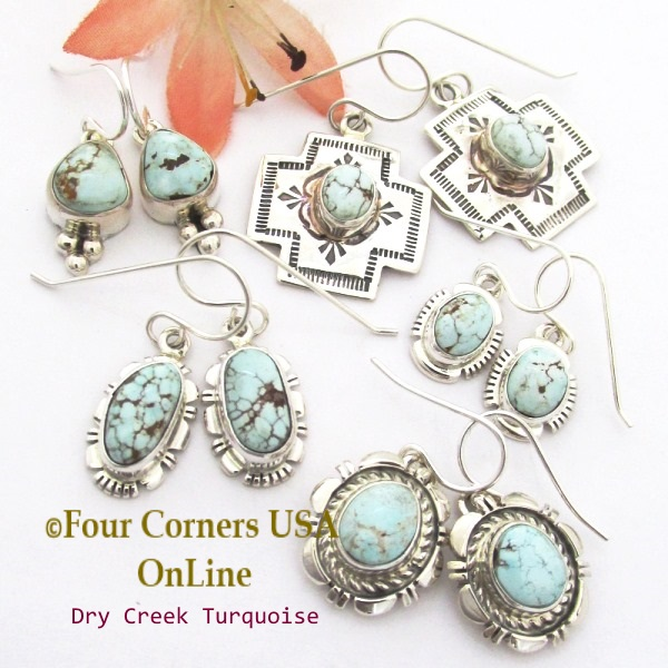 Dry Creek Turquoise Earrings at Four Corners USA OnLine Native American Silver Jewelry
