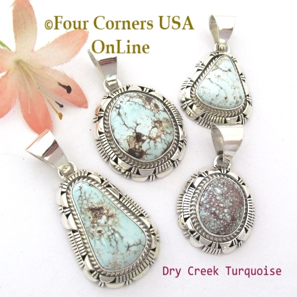 Nevada Dry Creek Turquoise Pendants Four Corners USA OnLine Navajo Silver Jewelry