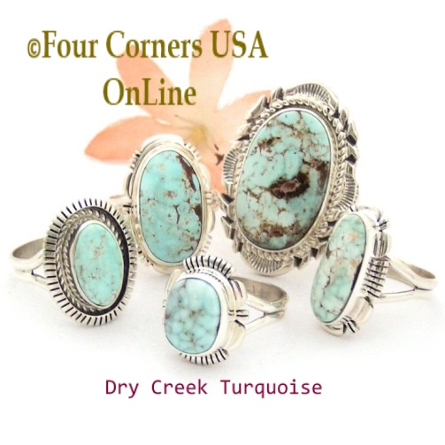 Nevada Dry Creek Turquoise Rings Four Corners USA OnLine Native American Silver Jewelry for Men and Women