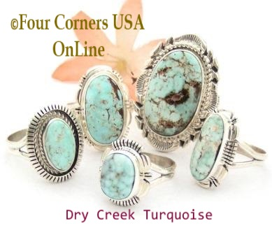 Size 8 Dry Creek Turquoise Rings Four Corners USA OnLine Native American Navajo Silver Jewelry