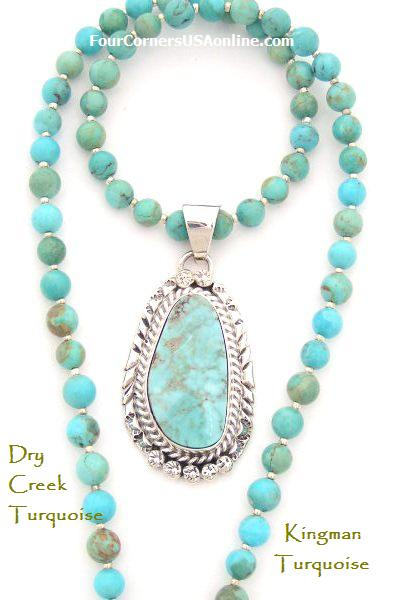 Dry Creek Turquoise Pendant and Kingman Turquoise Bead Necklace Pendant Set