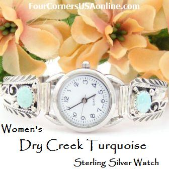 Womens Dry Creek Turquoise Sterling Watch Four Corners USA Native American Jewelry