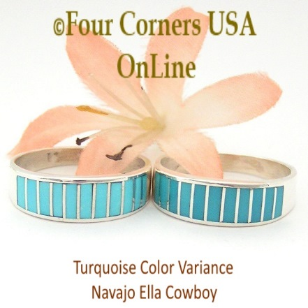 Sample of Turquoise Color Variance Four Corners USA OnLine Navajo Inlay Wedding Rings