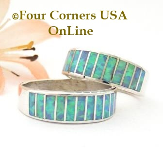 Blue Fire Opal Inlay Band Rings Navajo Ella Cowboy Four Corners USA OnLine Native American Jewelry