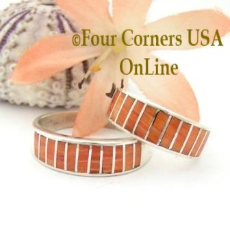 Orange Spiny Oyster Shell Inlay Band Rings Navajo Ella Cowboy Four Corners USA OnLine Native American Jewelry