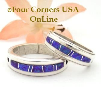 Purple Fire Opal Inlay Band Rings Navajo Wilbert Muskett Jr Four Corners USA OnLine Native American Jewelry