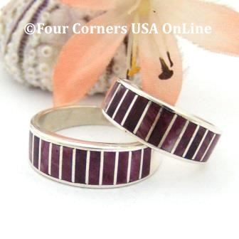 Purple Spiny Oyster Shell Inlay Band Rings Navajo Ella Cowboy Four Corners USA OnLine Native American Jewelry