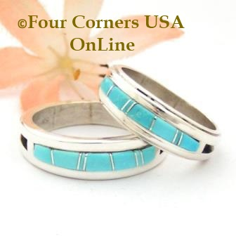 Turquoise Inlay Band Rings Navajo Silversmith Wilbert Muskett Jr Four Corners USA Online