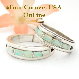 White Fire Opal Inlay Band Rings by Wilbert Muskett Jr. Four Corners USA OnLine Native American Indian Silver Jewelry