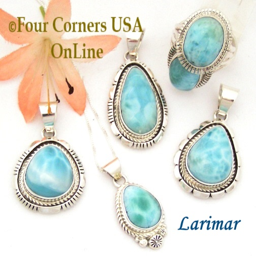Larimar Navajo Silver Jewelry Four Corners USA OnLine