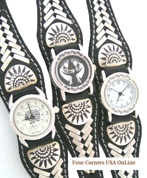 Leather Sterling Watches Navajo Frank Armstrong Four Corners USA OnLine Native American Jewelry