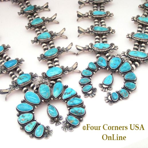 Morenci Turquoise Squash Blossom Necklaces by Navajo Silversmith Donovan Cadman Four Corners USA OnLine Native American Jewelry
