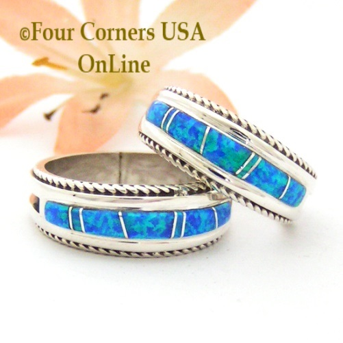 Blue Fire Opal Inlay Band Rings with Rope Accent Navajo Wilber Muskett Jr Four Corners USA OnLine Native American Jewelry