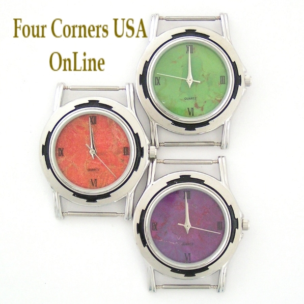 Mens Watch Faces Mohave Green Purple Turquoise Apple Coral to compliment your Native American Silver Watches Four Corners USA OnLine