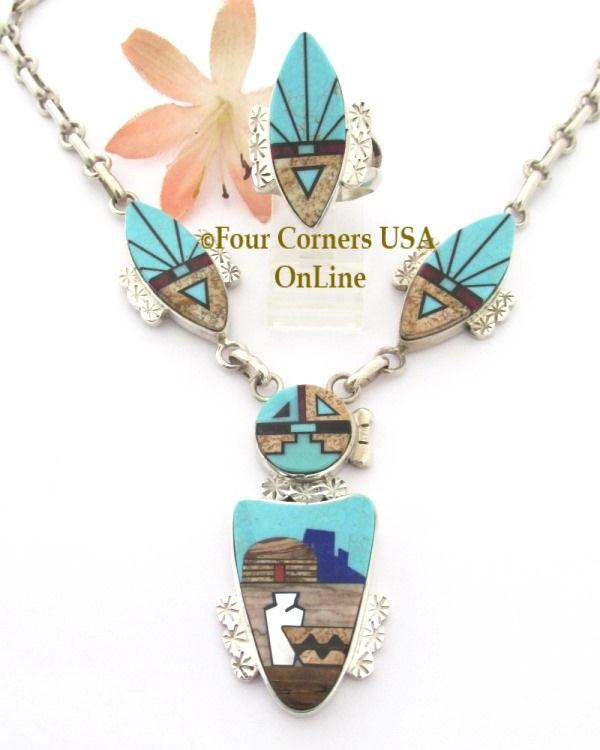 Pueblo Celebration Inlay Necklace Bridal Gift Four Corners USA OnLine Native American Wedding