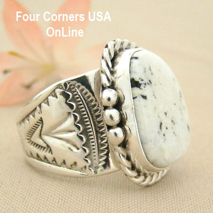 White Turquoise Rings Size 10 and Larger Four Corners USA OnLine Native American Navajo Silver Jewelry