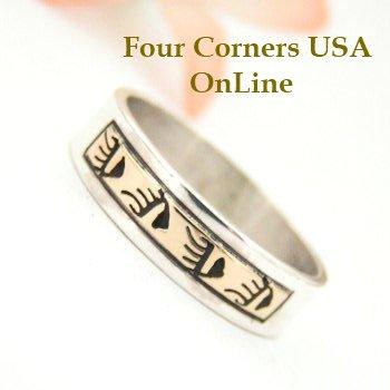 14k gold and sterling silver mixed metal bear tracks native american navajo wedding band rings four - Native American Wedding Rings