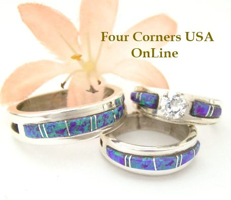 Purple Fire Opal Inlay Bridal Wedding Ring Sets by Wilbert Muskett Jr Four Corners USA OnLine Native American Indian Silver Jewelry