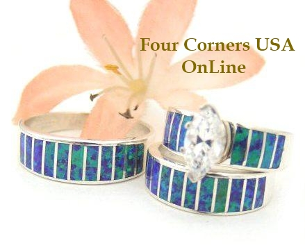 Purple Fire Opal Engagement Wedding Band Ring Sets Four Corners USA OnLine Native American Navajo Ella Cowboy Silver Jewelry