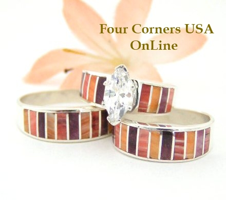 Spiny Oyster Bridal Engagement Wedding Band Ring Sets Four Corners USA OnLine Native American Navajo Silver Jewelry