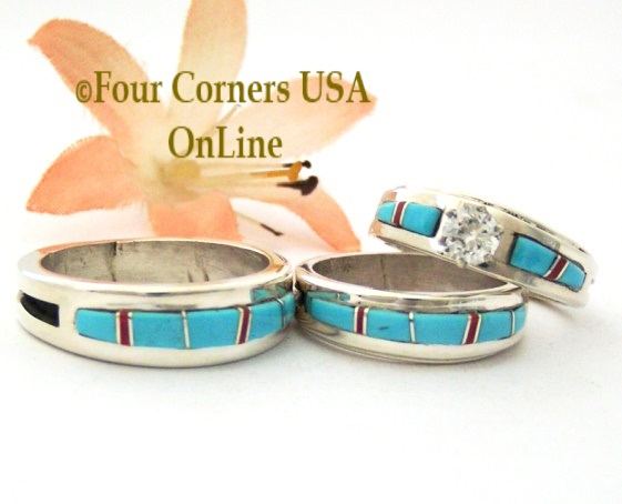 Turquoise Coral Inlay Wedding Engagement Band Rings Navajo Wilbert Muskett Jr Four Corners USA OnLine Native American Jewelry