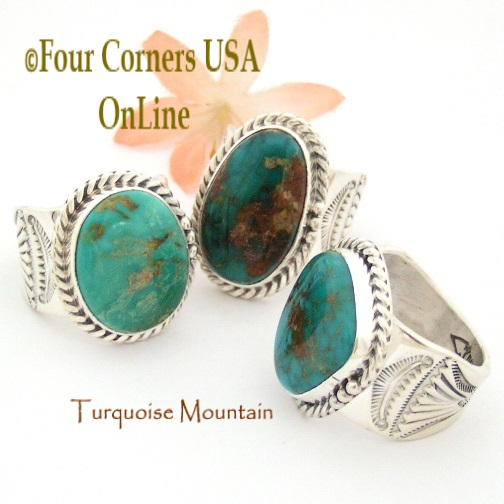 Mens Turquoise Mountain Rings Four Corners USA OnLine Native American Silver Jewelry