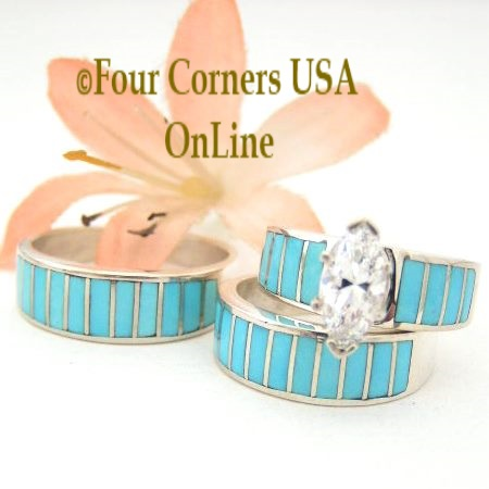 Turquoise Inlay Bridal Engagement Wedding Band Ring Sets Navajo Ella Cowboy Four Corners USA OnLine Native American Jewelry