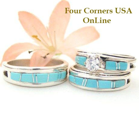 Turquoise Inlay Wedding Ring Sets Navajo Wilbert Muskett Jr