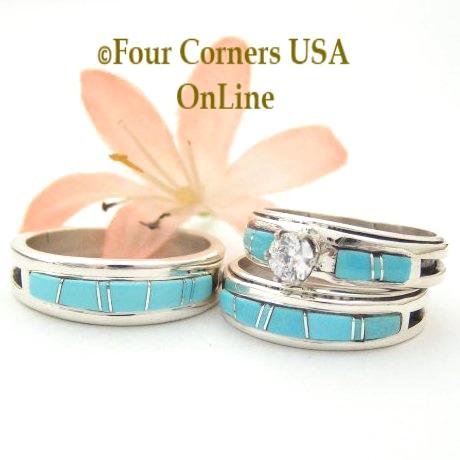 Turquoise Bridal Engagement Wedding Band Ring Sets