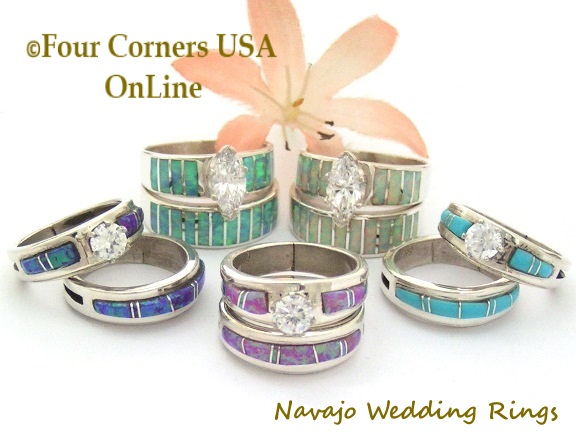Navajo Bridal Engagement Wedding Band Ring Sets Four Corners USA OnLine Native American Jewelry