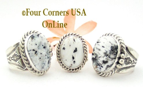 Size 9 White Buffalo Turquoise Ring Collection Four Corners USA OnLine Native American Navajo Silver Jewelry