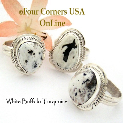 Size 8 White Buffalo Turquoise Ring Collection Four Corners USA OnLine Native American Navajo Silver Jewelry