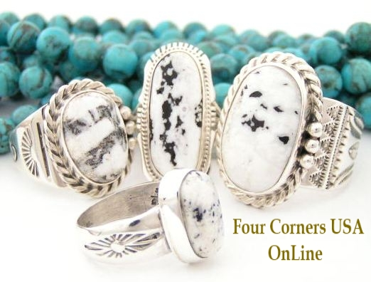 Sacred White Buffalo Stone (White Turquoise) Rings for Men and Women by renowned Native American Artisans