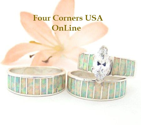 Navajo White Fire Opal Inlay Engagement Bridal Wedding Ring Sets for Bride and Groom Four Corners USA OnLine Native American Jewelry