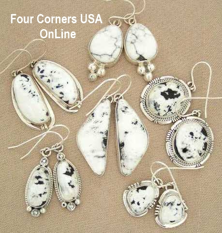 White Turquoise Earrings Four Corners USA OnLine Native American Jewelry