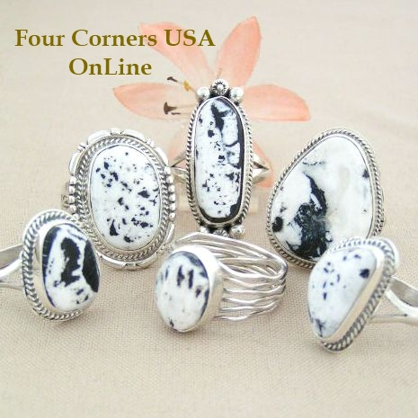 Sacred White Buffalo Turquoise Rings Four Corners USA OnLine Native American Silver Jewelry