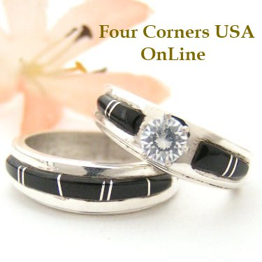 Black Jet Inlay Bridal Wedding Ring Set Four Corners USA OnLine Native American Navajo Silver Jewelry