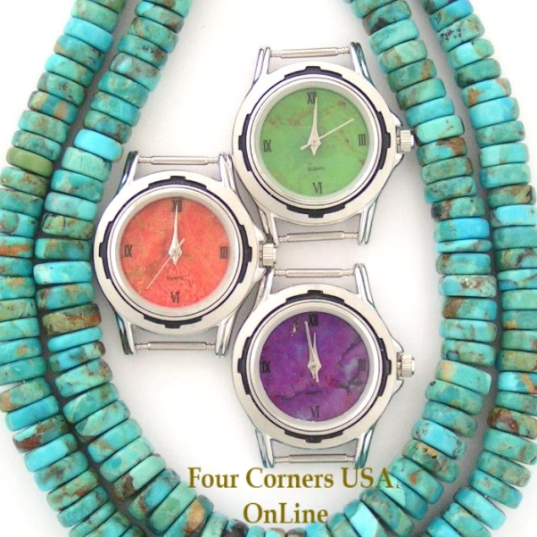 Womens Watch Faces Mohave Green Purple Turquoise Apple Coral to compliment your Native American Silver Watches Four Corners USA OnLine
