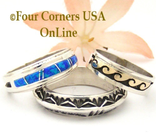 Navajo Wedding Bsnd Rings Four Corners USA OnLine Native American Jewelry