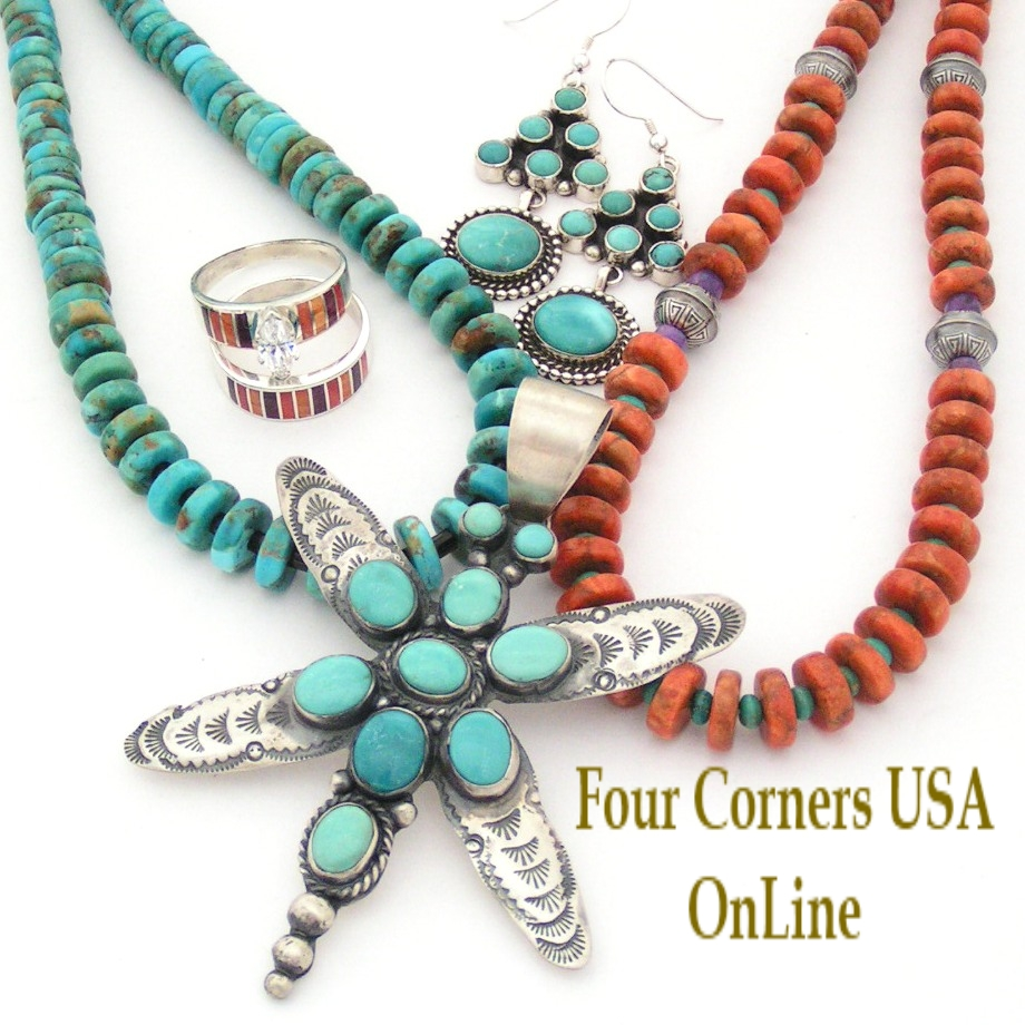 Southwest Turquoise Coral Bead Jewelry Designs Four Corners USA OnLine Beading Supplies