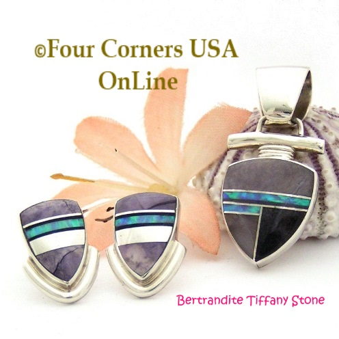 Bertrandite Tiffany Stone Fine Inlay Jewelry Set Four Corners USA OnLine Native American Jewelry