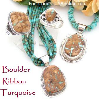Boulder Ribbon Turquoise Four Corners USA OnLine Native American Jewelry