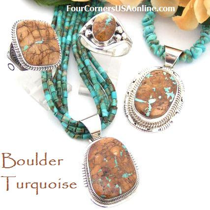 Boulder Ribbon Turquoise Four Corners USA OnLine Native American Silver Jewelry