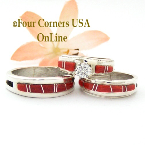 Coral Inlay Wedding Bridal Ring Sets and Inlay Band Rings Four Corners USA OnLine Native American Navajo Silver Jewelry