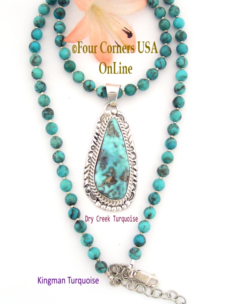 Dry Creek Old Kingman Blue Turquoise Bead Necklace Four Corners USA OnLine