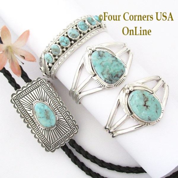 Nevada Dry Creek Turquoise Link Cuff Bracelets Four Corners USA OnLine Native American Silver Jewelry